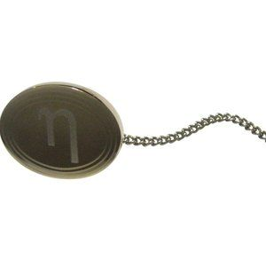 Gold Toned Etched Oval Greek Letter Eta Tie Tack